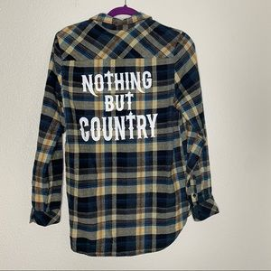 """""""Nothing But Country"""" Plaid Long Sleeve Flannel"""
